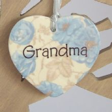 Floral Ceramic Heart - GRANDMA Design - Personalised Christmas Tree Decoration